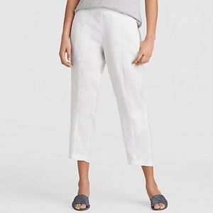 Eileen Fisher | linen white crop pants S